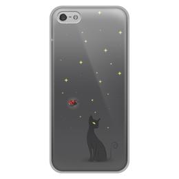 """Чехол для iPhone 5/5S, объёмная печать """"Ночная история"""" - коты, божья коровка, ночь"""