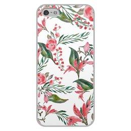 """Чехол для iPhone 5/5S, объёмная печать """"Цветы на белом"""" - цветы, роза, листья, природа, пион"""