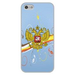 """Чехол для iPhone 5/5S, объёмная печать """"Россия"""" - цветы, россия, герб, орел, хохлома"""