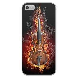 """Чехол для iPhone 5/5S, объёмная печать """"МУЗЫКА ФЭНТЕЗИ"""" - огонь, скрипка, красота, яркость, стиль"""