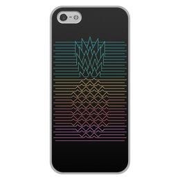 """Чехол для iPhone 5/5S, объёмная печать """"Неоновый ананас """" - фрукты, ананас, неон, минимализм, линии"""