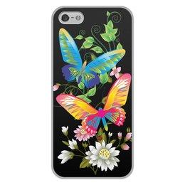 """Чехол для iPhone 5/5S, объёмная печать """"БАБОЧКИ ФЭНТЕЗИ"""" - бабочки, цветы, стиль, красота, яркость"""