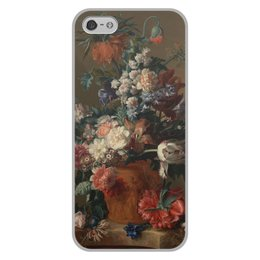 "Чехол для iPhone 5/5S, объёмная печать ""Ваза с цветами (Ян ван Хёйсум)"" - цветы, картина, живопись, натюрморт, ян ван хёйсум"