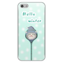 """Чехол для iPhone 5/5S, объёмная печать """"Привет зима"""" - зима, кот"""