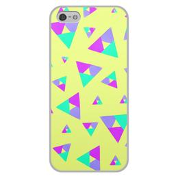 """Чехол для iPhone 5/5S, объёмная печать """"Треугольник 1"""" - треугольник, желтый, голубой, фиолетовый, пурпурный"""
