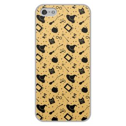"""Чехол для iPhone 5/5S, объёмная печать """"Wizard symbols (yellow)"""" - волшебство, магия, поттер, колдовство, wizard"""