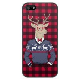 """Чехол для iPhone 5/5S, объёмная печать """"Олень Хипстер"""" - новый год, клетка, олень, хипстер"""
