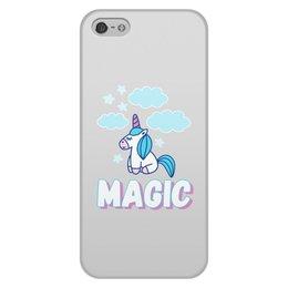 """Чехол для iPhone 5/5S, объёмная печать """"Magic"""" - голубой, розовый, magic, unicorn, единорог"""