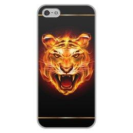 """Чехол для iPhone 5/5S, объёмная печать """"ТИГРЫ ФЭНТЕЗИ"""" - стиль, огонь, красота, яркость"""
