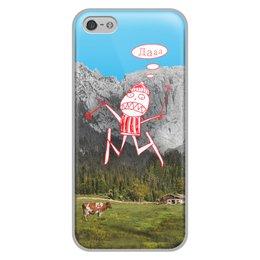 """Чехол для iPhone 5/5S, объёмная печать """"Лыжник"""" - смех, ужас, горы, лыжи, луг"""