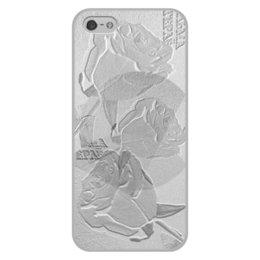 """Чехол для iPhone 5/5S, объёмная печать """"Silver."""" - цветы, цветок, роза, розы, серебро"""
