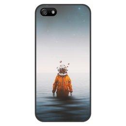 """Чехол для iPhone 5/5S, объёмная печать """"Space in ocean"""" - бабочки, space, космос, океан, космонавт"""