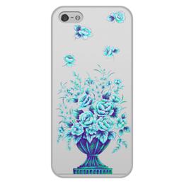 """Чехол для iPhone 5/5S, объёмная печать """"Синие розы"""" - цветы, розы"""
