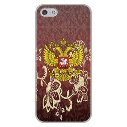 """Чехол для iPhone 5/5S, объёмная печать """"Роспись"""" - цветы, россия, герб, орел, хохлома"""