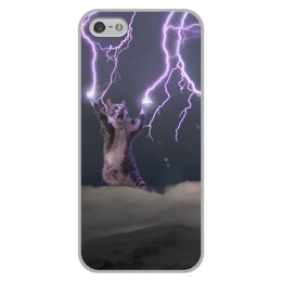 """Чехол для iPhone 5/5S, объёмная печать """"Кот Тесла"""" - мем, гроза, cat, котик, молния"""
