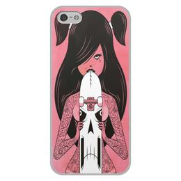 """Чехол для iPhone 5/5S, объёмная печать """"Skate girl"""" - арт, скейт, девушка"""
