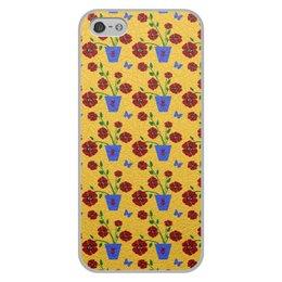"""Чехол для iPhone 5/5S, объёмная печать """"Цветы на окне"""" - цветы, графика, природа, арт рисунок"""