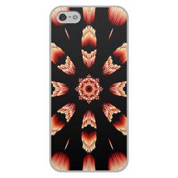 """Чехол для iPhone 5/5S, объёмная печать """"Костер"""" - огонь, подарок, абстракция, мандала, красное на черном"""