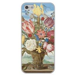 """Чехол для iPhone 5/5S, объёмная печать """"Букет цветов на полке (Амброзиус Босхарт)"""" - цветы, картина, живопись, натюрморт, босхарт"""