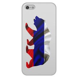 """Чехол для iPhone 5/5S, объёмная печать """"Русский Медведь"""" - bear, медведь, русский, флаг, russian"""