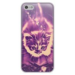 """Чехол для iPhone 5/5S, объёмная печать """"Fire cat"""" - девушка, животные, яркий, дизайнерский, интересный"""