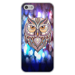 """Чехол для iPhone 5/5S, объёмная печать """"Сова в красках"""" - узор, птицы, краски, сова, совы"""