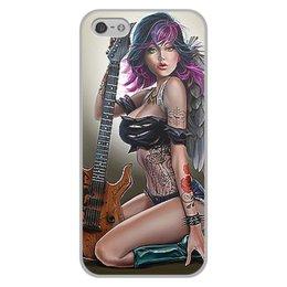 """Чехол для iPhone 5/5S, объёмная печать """"МУЗЫКА ФЭНТЕЗИ"""" - девушка, гитара, стиль, красота, татуировка"""