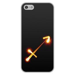 """Чехол для iPhone 5/5S, объёмная печать """"Стрельцу (22.11-21.12)"""" - черно-белый, минимализм, стрелец"""