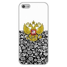 """Чехол для iPhone 5/5S, объёмная печать """"Цветы и герб"""" - цветы, россия, герб, орел, хохлома"""
