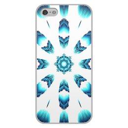 """Чехол для iPhone 5/5S, объёмная печать """"Костер Альт"""" - белый, синий, подарок, абстракция, мандала"""