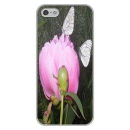 """Чехол для iPhone 5/5S, объёмная печать """"Парочка на романтике."""" - бабочка, бабочки, цветок, природа, пион"""