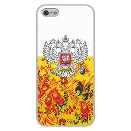 """Чехол для iPhone 5/5S, объёмная печать """"Хохлома"""" - цветы, россия, герб, орел, хохлома"""