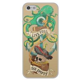 """Чехол для iPhone 5/5S, объёмная печать """"Осьминог"""" - череп, якорь, old school, татуировка, пират"""