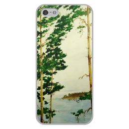 """Чехол для iPhone 5/5S, объёмная печать """"На Днепре"""" - лес, природа, река, сосны"""