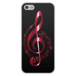 """Чехол для iPhone 5/5S, объёмная печать """"МУЗЫКА"""" - скрипичный ключ, нотный знак, стиль эксклюзив креатив красота яркость, арт фэнтези"""