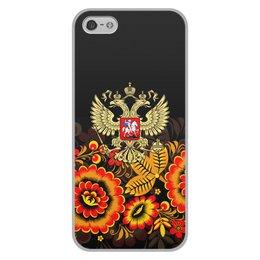 """Чехол для iPhone 5/5S, объёмная печать """"Россия"""" - цветы, русский, россия, герб, орел"""