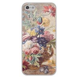 "Чехол для iPhone 5/5S, объёмная печать ""Цветочный натюрморт (Ян ван Хёйсум)"" - цветы, картина, живопись, натюрморт, ян ван хёйсум"
