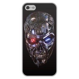 """Чехол для iPhone 5/5S, объёмная печать """"ТЕРМИНАТОР. красивые фильмы"""" - череп, стиль, яркость, киборг, красные глаза"""