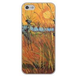"""Чехол для iPhone 5/5S, объёмная печать """"Обрезанные ивы и закат (Винсент Ван Гог)"""" - картина, пейзаж, ван гог, живопись, постимпрессионизм"""