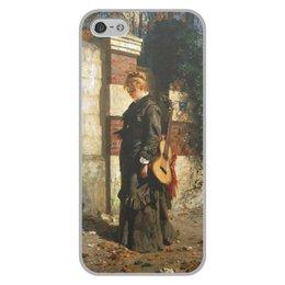 """Чехол для iPhone 5/5S, объёмная печать """"Стрекоза («Лето красное пропела…»)"""" - девушка, гитара, картина, живопись, поленов"""