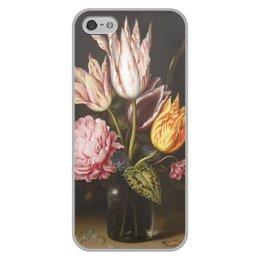 """Чехол для iPhone 5/5S, объёмная печать """"Букет из тюльпанов, роз, клевера, и цикламен"""" - цветы, картина, босхарт"""