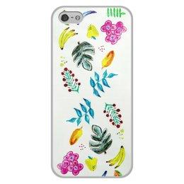 """Чехол для iPhone 5/5S, объёмная печать """"Фрукты"""" - листья, арбуз, фрукты, лето, цветы"""