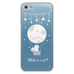 "Чехол для iPhone 5/5S, объёмная печать ""Загадай желание"" - заяц, звезды"