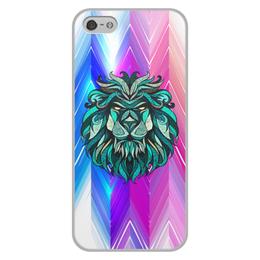 """Чехол для iPhone 5/5S, объёмная печать """"Расписной лев"""" - животные, лев, краски, линии, морда"""