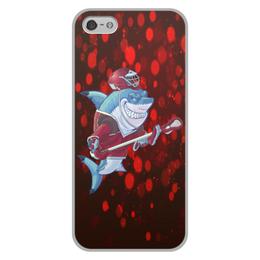 """Чехол для iPhone 5/5S, объёмная печать """"Акула"""" - спортсмен, красный, краски, рыба, акула"""