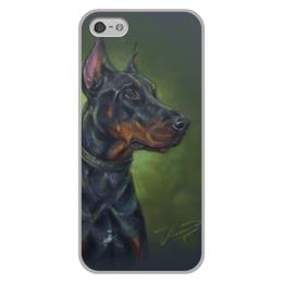 """Чехол для iPhone 5/5S, объёмная печать """"ДОБЕРМАН"""" - собаки, породы"""