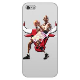 """Чехол для iPhone 5/5S, объёмная печать """"Michael Jordan Cartooney"""" - 23, чикаго, бык, chicago bulls, джордан"""