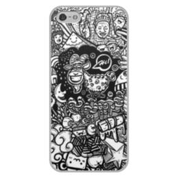 """Чехол для iPhone 5/5S, объёмная печать """"Иллюстрация"""" - звезда, люди, баран, ананас, козел"""