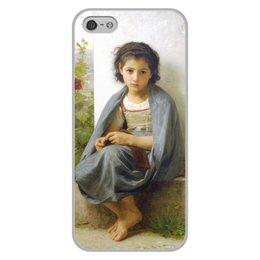 "Чехол для iPhone 5/5S, объёмная печать ""Маленькая вязальщица (картина Вильяма Бугро)"" - картина, девочка, академизм, живопись, бугро"