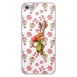 """Чехол для iPhone 5/5S, объёмная печать """"новый год"""" - новый год, зима, подарки, снежинки, олень"""